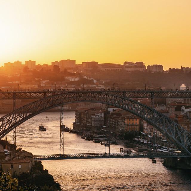 """""""Porto with Douro river and Dom Luis I Bridge, Portugal"""" stock image"""