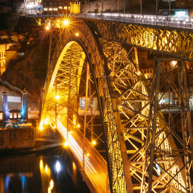 """""""Dom Luis I bridge illuminated at night in Porto"""" stock image"""