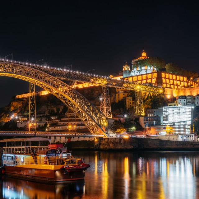 """Dom Luis I bridge, Porto old town, Portugal"" stock image"