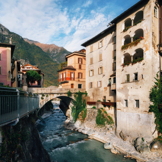 """""""Cute Chiavenna town, Italy."""" stock image"""