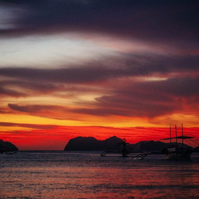 """""""Traditional philippine boats in El Nido at sunset lights, Philippines"""" stock image"""