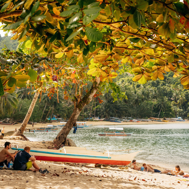 """People relax on tropical beach of Port Barton"" stock image"