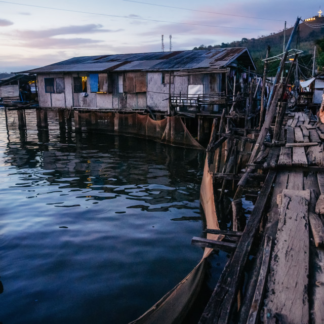 """Slums with wooden houses near water, Coron city, Palawan, Philippines"" stock image"