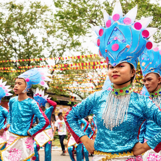 """Participate in the parade at the Sinulog Festival."" stock image"