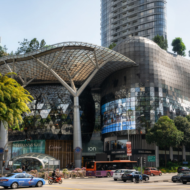 """Ultramodern facade of ION Orchard mall in Singapore"" stock image"