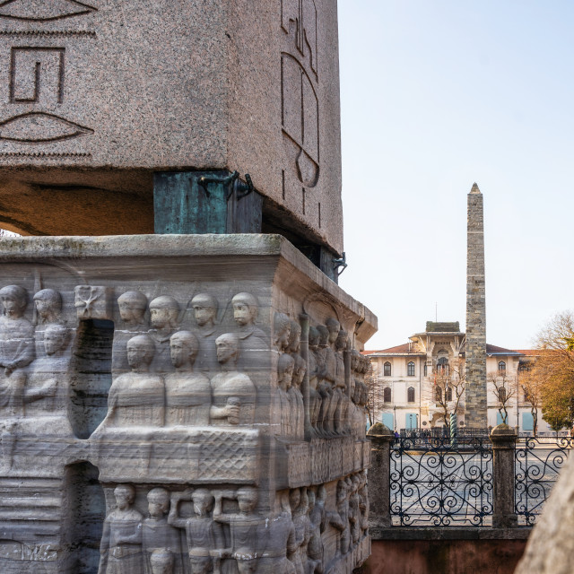 """Details of the bas relief of the pedestal of Theodosius Obelisk and Walled Obelisk in Istanbul, Turkey"" stock image"