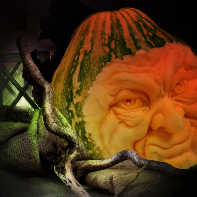 """""""Halloween carved pumpkins faces"""" stock image"""