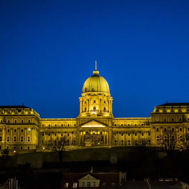 """""""Hungarian National Gallery in Budapest, Hungary at night"""" stock image"""