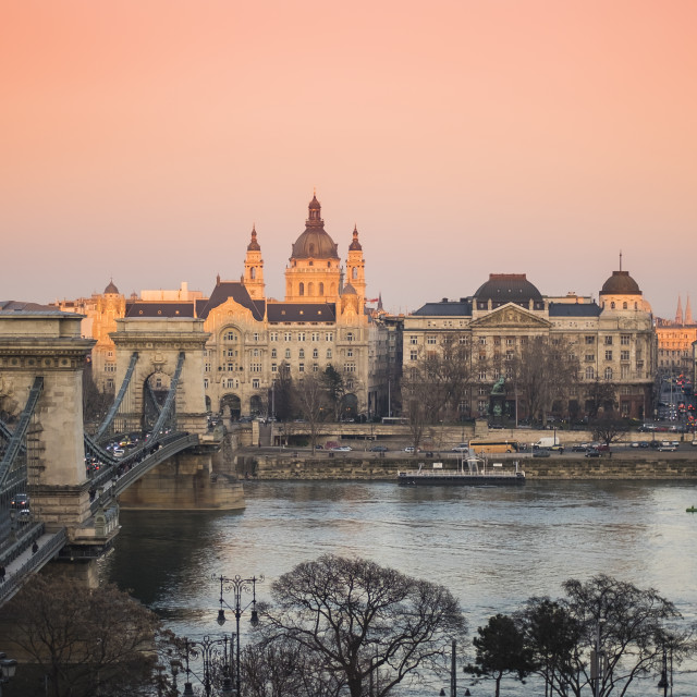 """""""Chain Bridge and Hungarian National Gallery in Budapest, Hungary at sunset"""" stock image"""