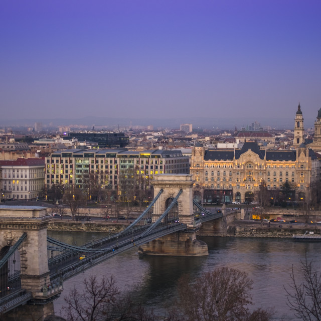 """""""Chain Bridge and Hungarian National Gallery in Budapest, Hungary"""" stock image"""
