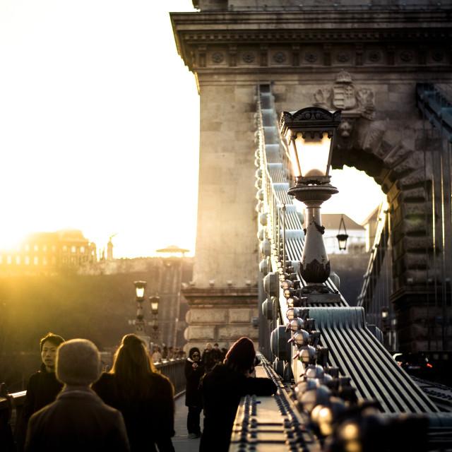 """Chain Bridge in Budapest, Hungary at sunset"" stock image"