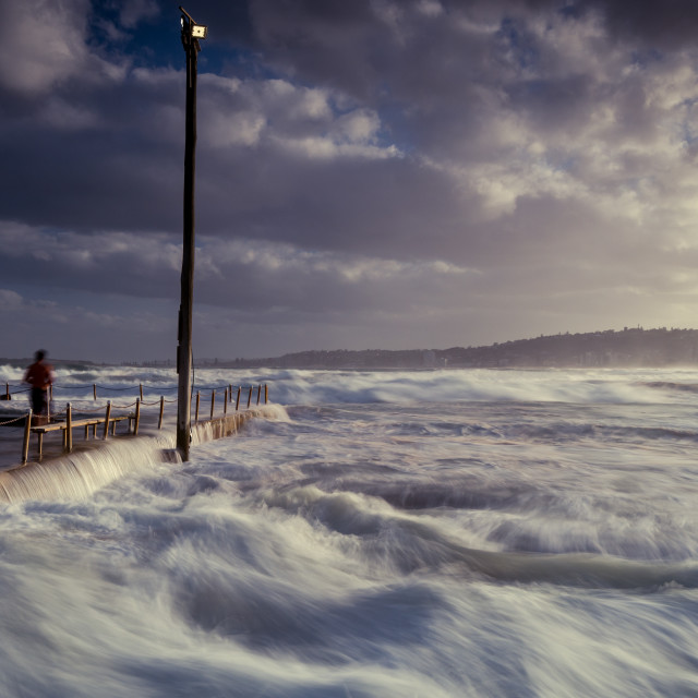 """High seas hit North Narrabeen rock pool // Sydney, Australia"" stock image"