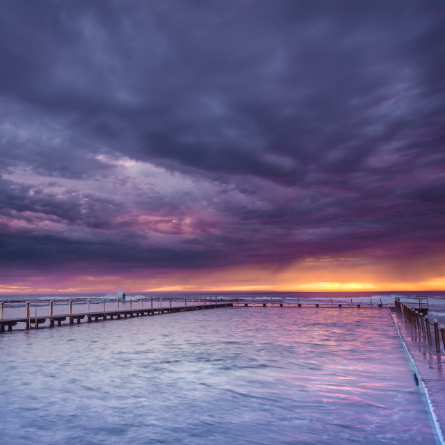 """Dayrise at North Narrabeen rock pool // Sydney, Australia"" stock image"