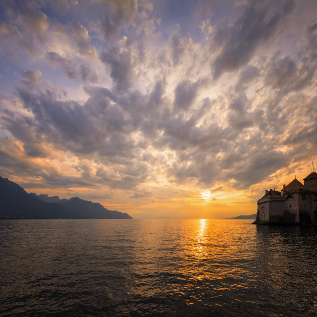 """Chillon castle at sunset"" stock image"