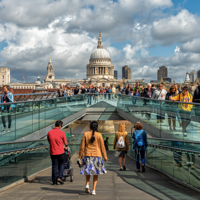 """St Paul's and the Millennium Bridge"" stock image"