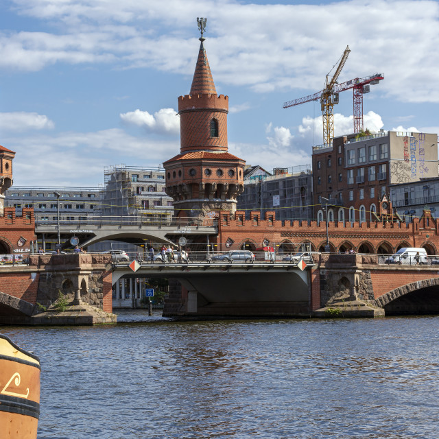"""Historical Oberbaum bridge -Oberbaumbruecke- and the river Spree in Berlin,..."" stock image"