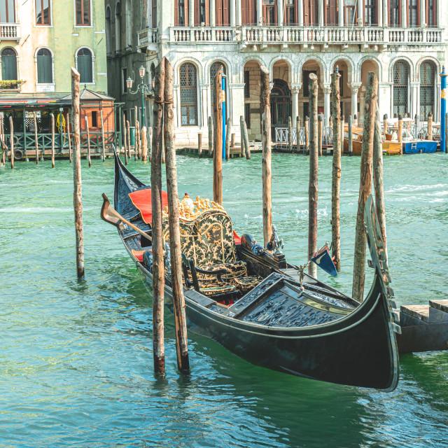 """Nice black gondola boat on Grand canal in Venice"" stock image"