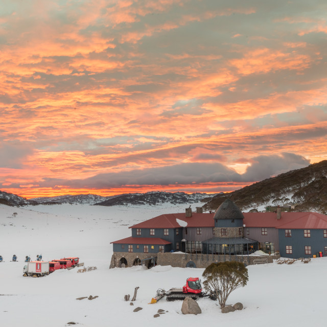 """Sunrise over Kosciuszko Chalet"" stock image"