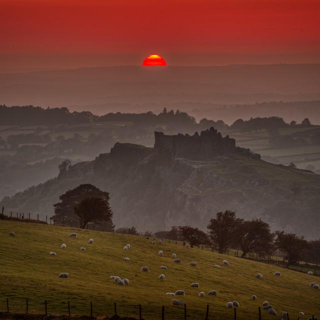 """""""Sunset over Carreg Cennen"""" stock image"""