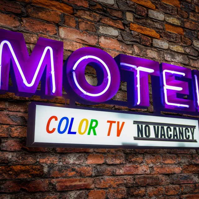 """Retro Neon Motel Sign With Color TV"" stock image"