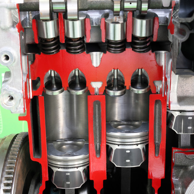 """""""Pistons and valves car engine detail"""" stock image"""