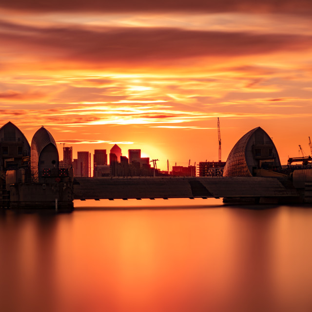 """Sunset over Thames Barrier II"" stock image"