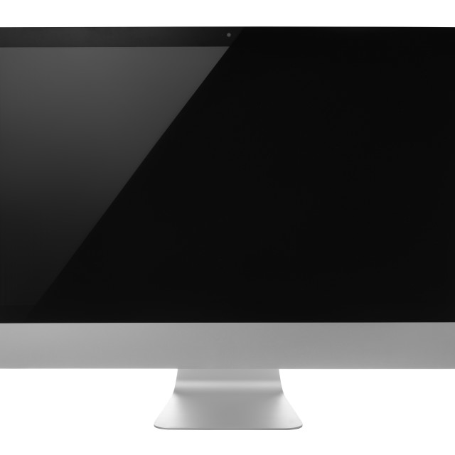 """""""Computer monitor with black screen isolated on white background"""" stock image"""