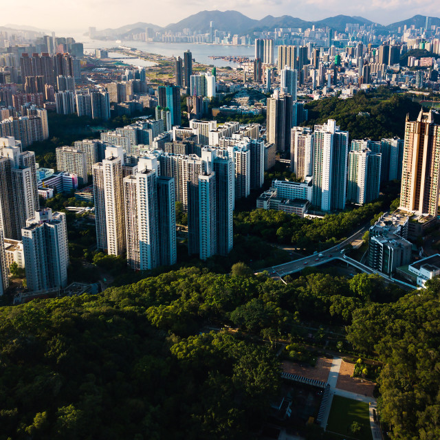 """Aerial view of Hong Kong island downtown"" stock image"