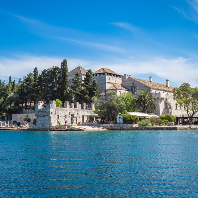 """Benedictine monastery at Mljet park, Croatia"" stock image"