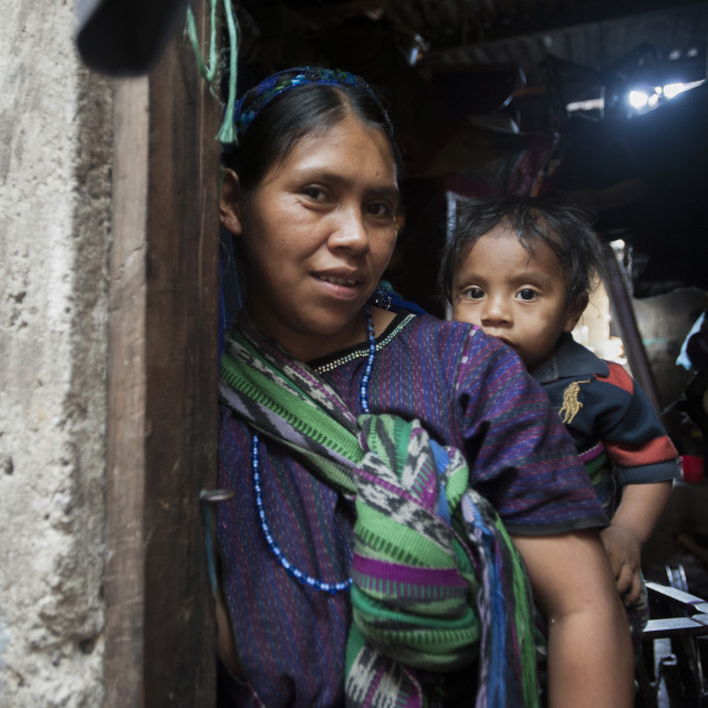 """""""Maya indigenous mother and child in Guatemala"""" stock image"""