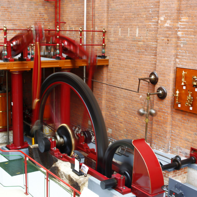 """Crossfield Mill Beam Engine in Action"" stock image"