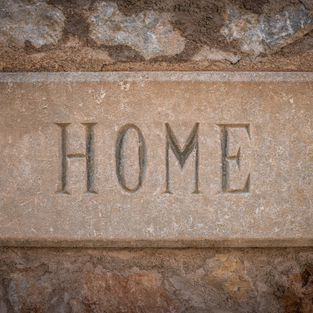 """Spanish Villa Stone Home Sign"" stock image"