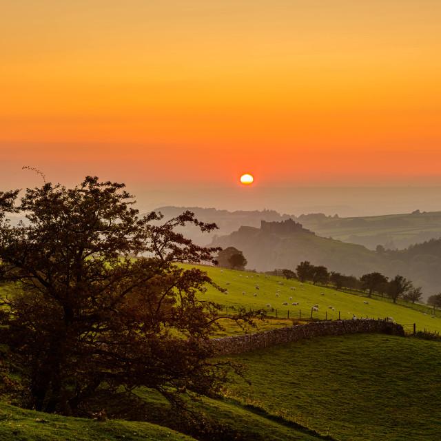 """""""Sunset over Carreg Cennen Castle"""" stock image"""
