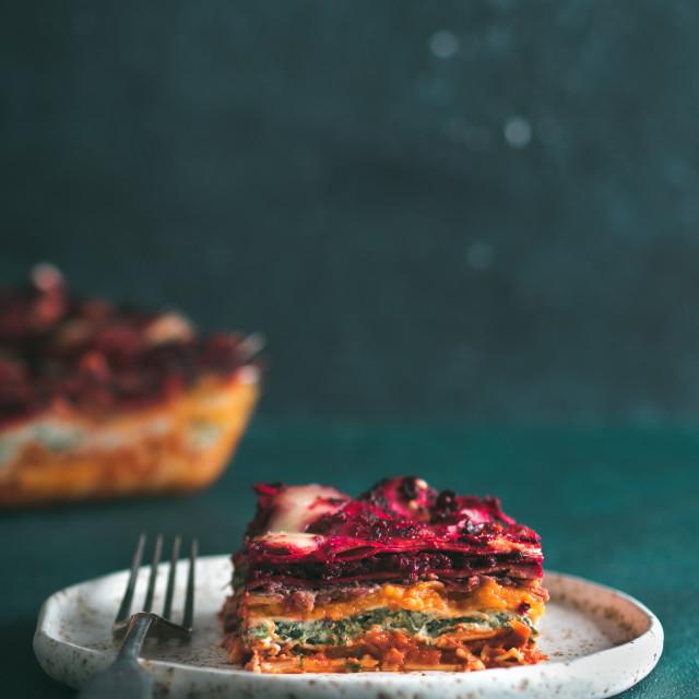 """""""Vegetable rainbow lasagne"""" stock image"""