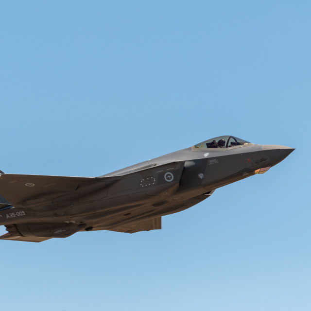 """""""RAAF F-35A Joint Strike Fighter on display at Avalon Airshow 201"""" stock image"""