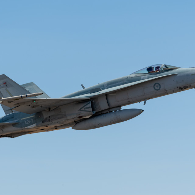 """""""RAAF Hornet on display at Avalon Airshow 2019 // Melbourne, Aust"""" stock image"""