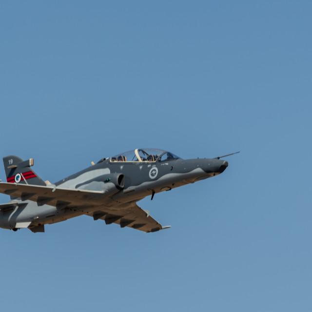 """RAAF Hawk 127 on display at Avalon Airshow 2019 // Melbourne, Au"" stock image"