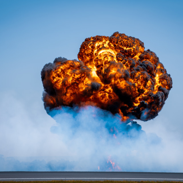 """""""Simulated bomb burst at the Avalon Airshow 2019 // Melbourne, Au"""" stock image"""