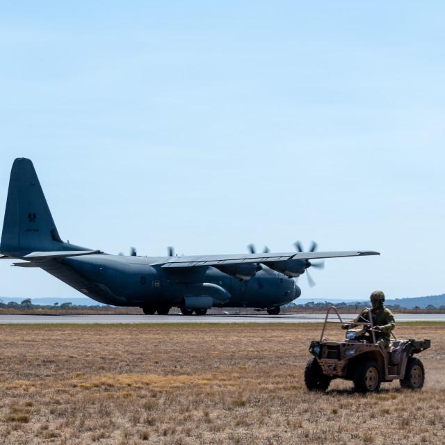 """RAAF Hercules on display at Avalon Airshow 2019 // Melbourne, Au"" stock image"