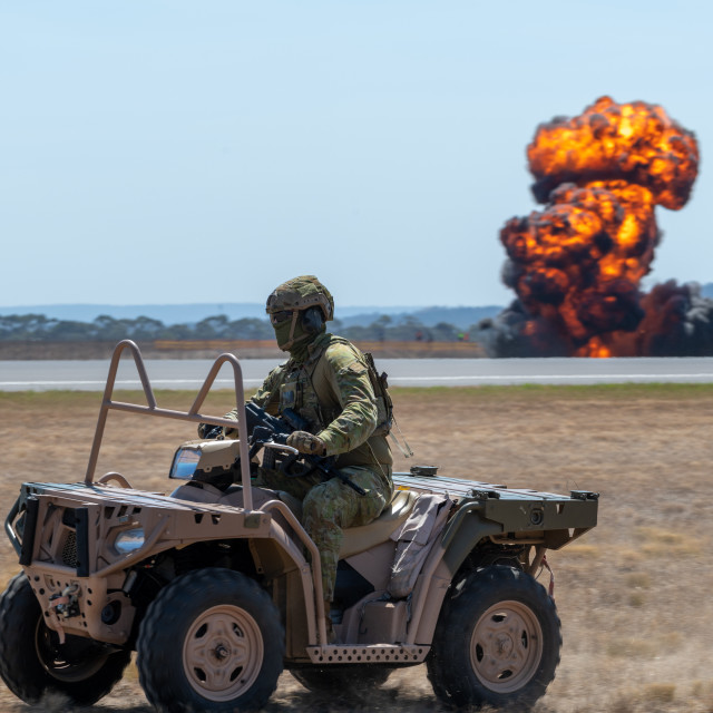 """""""Air ground defender at the Avalon Airshow 2019 // Melbourne, Aus"""" stock image"""