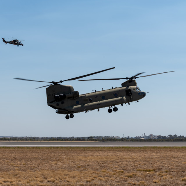 """""""Australian Army Chinook with ARH in overwwatch at Avalon Airshow"""" stock image"""