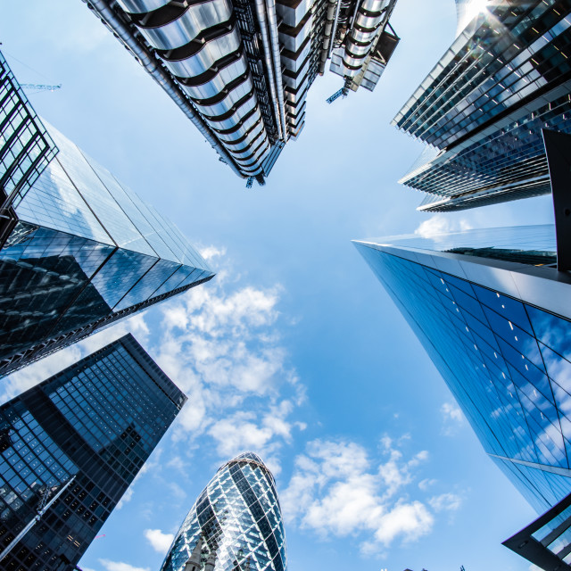 """London city through a fisheye"" stock image"