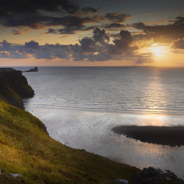 """""""Sunset at Worms Head"""" stock image"""