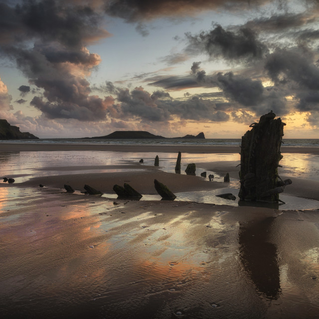 """The remains of the Helvetia at Rhossili Bay, South Wales UK"" stock image"