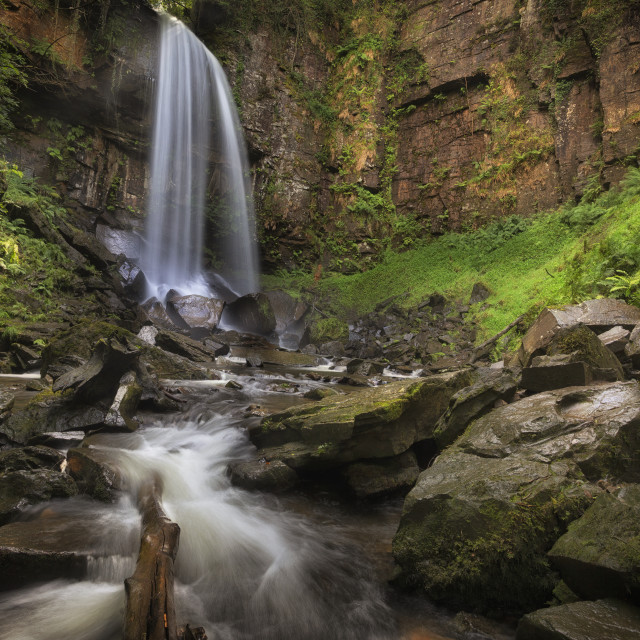 """""""Waterfall and rocks at Melincourt"""" stock image"""