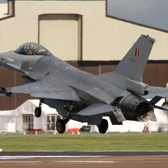 """""""Belgian Air Force F-16AM FA-83 at RAF Fairford"""" stock image"""