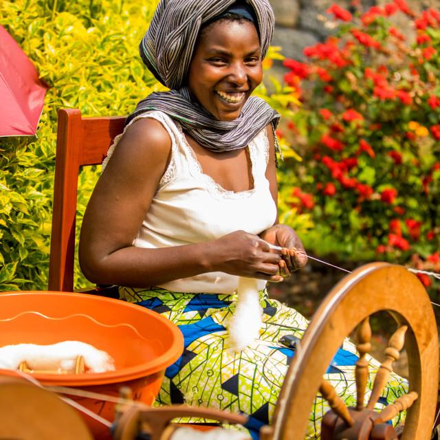 """Women Weavers in Handspun Hope NGO- Volcanoes National Park, Rwanda"" stock image"