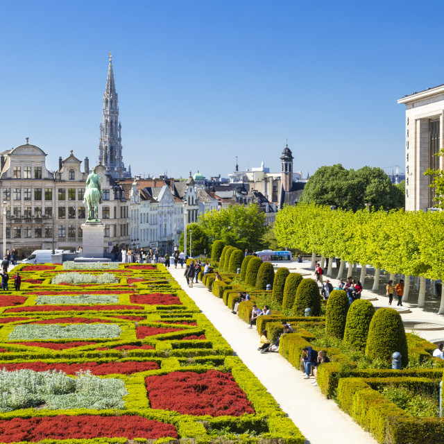 """Brussels Skyline or Cityscape at Mont des Arts Garden Brussels Belgium EU Europe"" stock image"