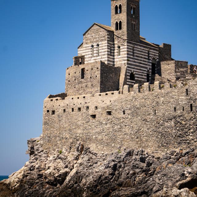 """Church of Saint Peter, Portovenere, Cinque Terre, Italy."" stock image"