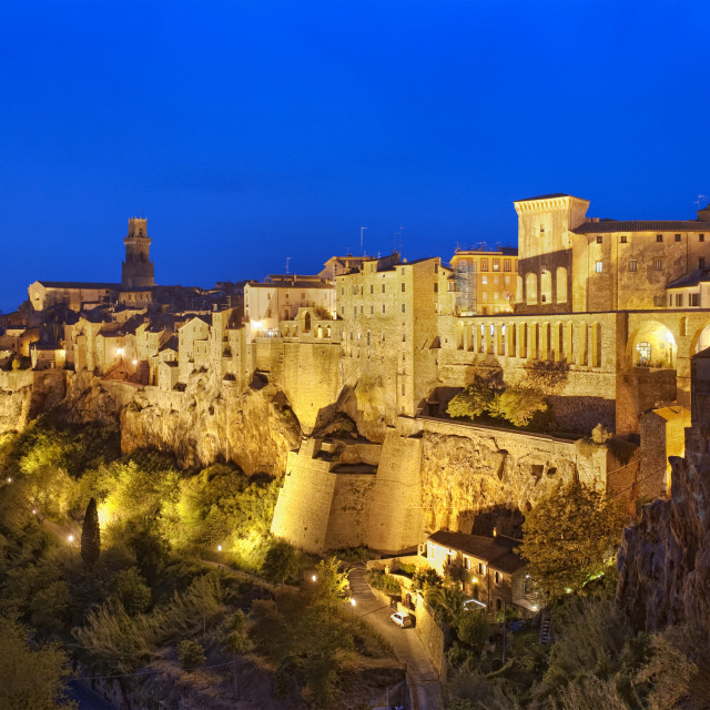 """""""Pitignano, old medieval town on a giant rock in Tuscany"""" stock image"""